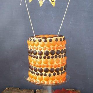Whimsical Fall M&M Cake - BoulderLocavore.com