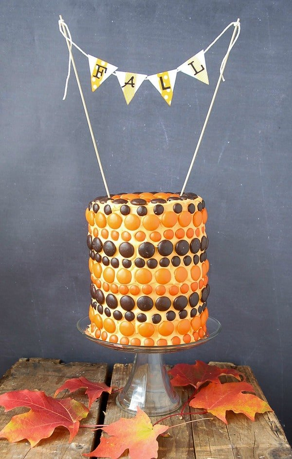 Whimsical Fall M&M Cake - BoulderLocavore.com