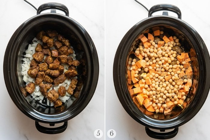 Slow Cooker Beef Stew instruction steps photos 5-6