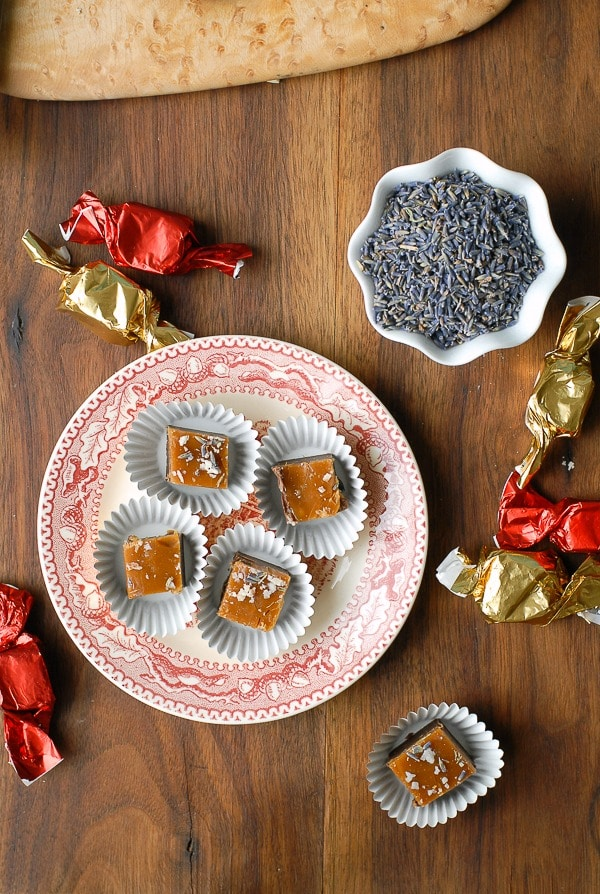 Chocolate Lavender Fudge with Salted Caramel Top - BoulderLocavore.com