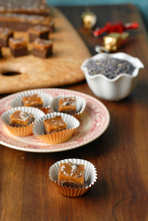 Chocolate Lavender Fudge with Salted Caramel Top pieces n foil cups - BoulderLocavore.com