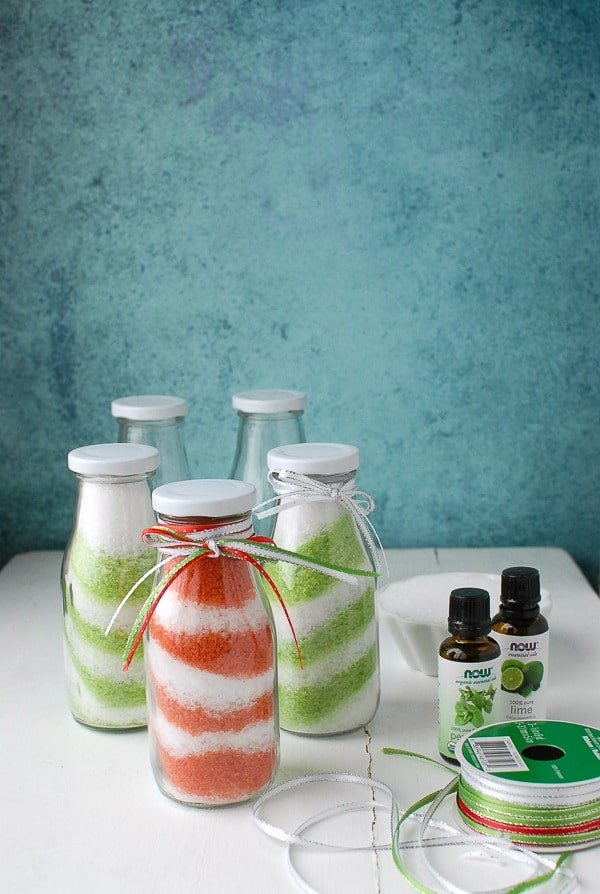 DIY Homemade Candy Cane and Lime Swirl Bath Salts Tutorial - BoulderLocavore.com