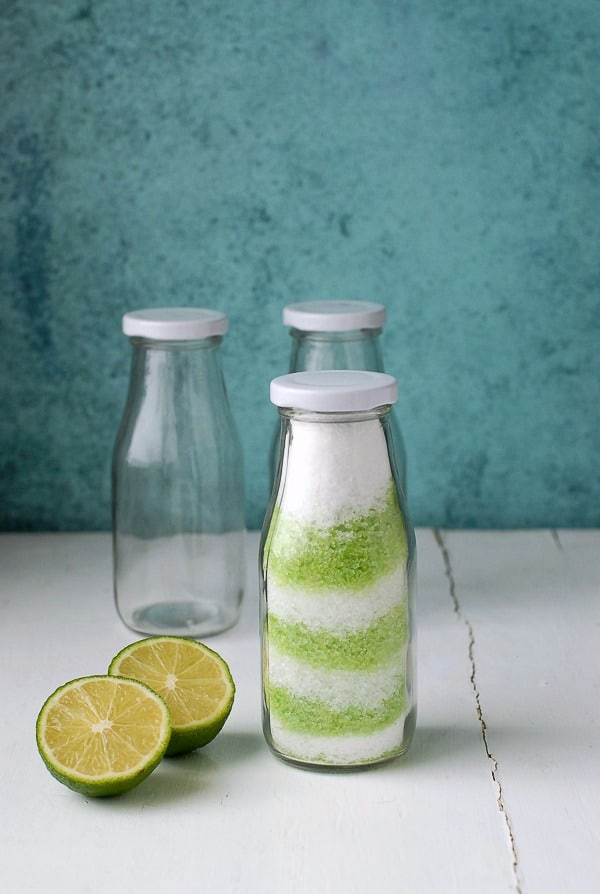 DIY Homemade Lime Swirl Bath Salts - BoulderLocavore.com