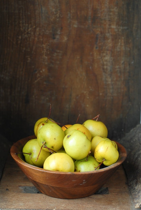Fall Crabapples in wooden bowl inside vintage crate - BoulderLocavore.com