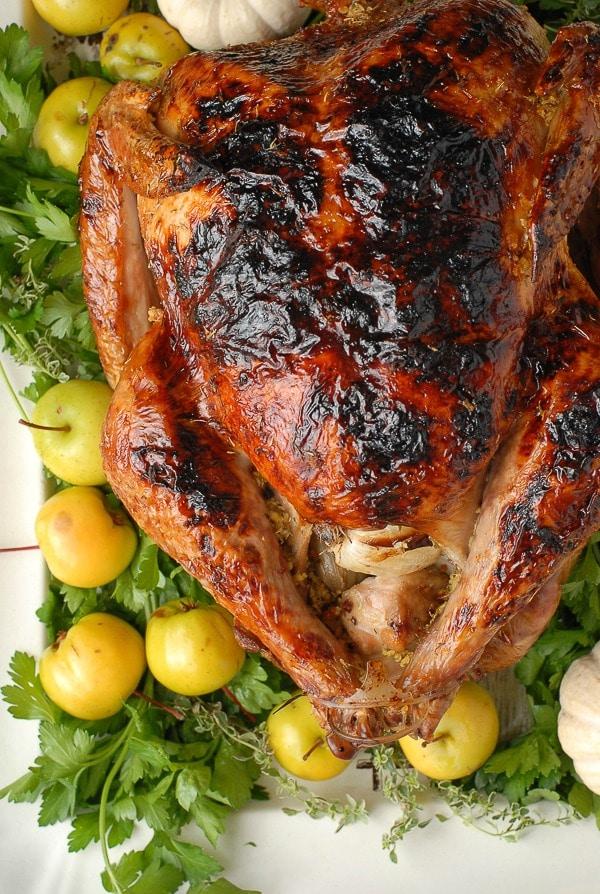 Brined White Wine Ginger Thyme Roast Turkey gluten-free - BoulderLocavore.com