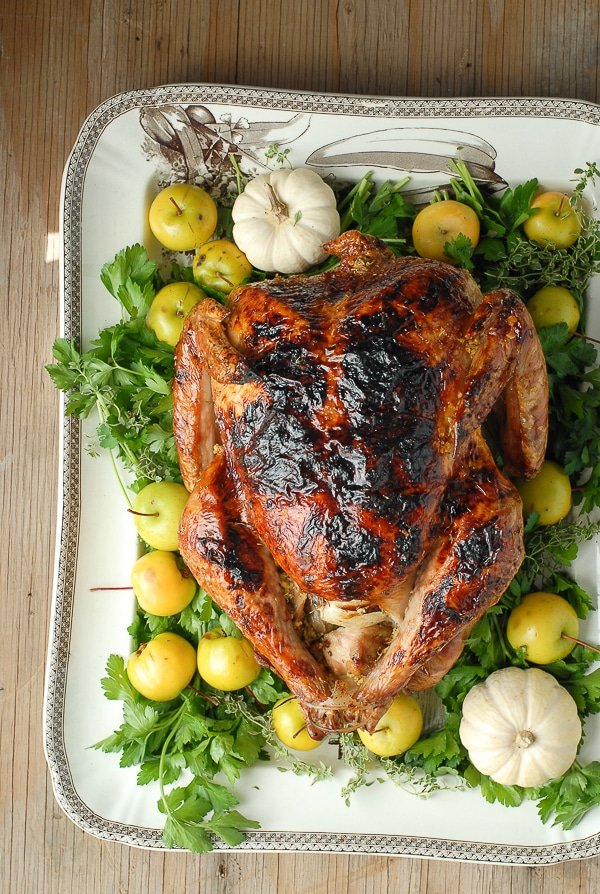 Brined White Wine Ginger Thyme Roast Turkey Thanksgiving - BoulderLocavore.com