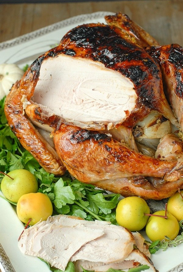 Brined White Wine Ginger Thyme Roast Turkey sliced - BoulderLocavore.com