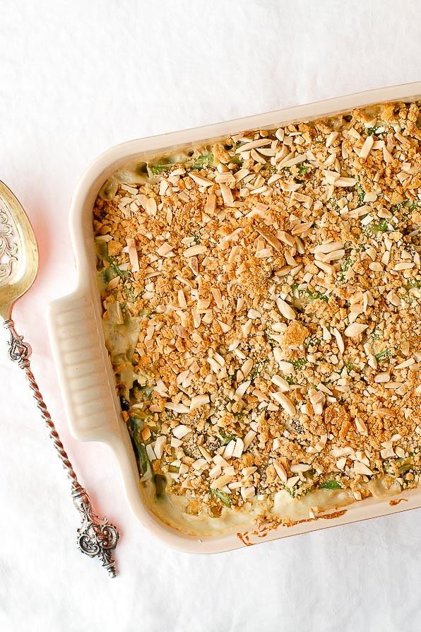 Fresh Green Bean casserole overhead