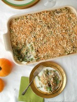 Haricot Vert and Mushroom Casserole with Gruyere Cheese and Lardons {bacon}. A French-inspired remake of the iconic recipe to add creamy sophistication to your dining table! #thanksgiving - BoulderLocavore.com