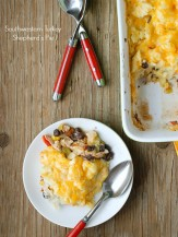 Helping of Southwestern Turkey Shepherd's Pie. Soul-warming comfort food with a spicy twist! Great for using up holiday leftovers too. - BoulderLocavore.com