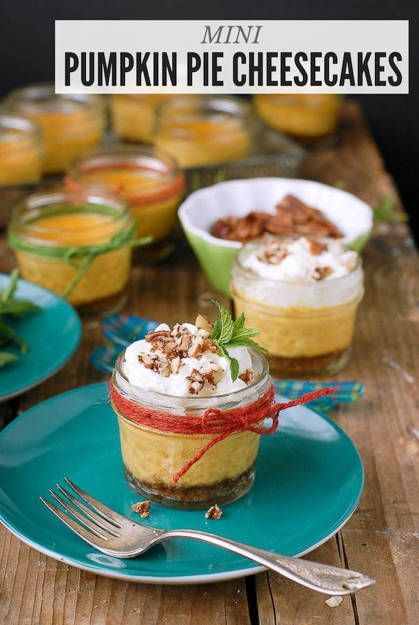 Mini Pumpkin Pie Cheesecakes in jar title image