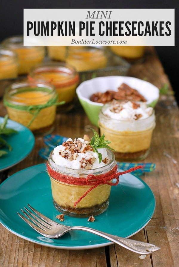 Mini Pumpkin Pie Cheesecakes in Jars are light, tangy and a perfect individual serving for Thanksgiving or any time that sounds good! They are portable too! Make ahead dessert. #Thanksgiving #cheesecake #pumpkinpie #dessert