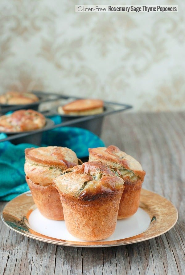 Rosemary Sage Thyme Popovers {gluten-free}. Airy, custard popovers are ...