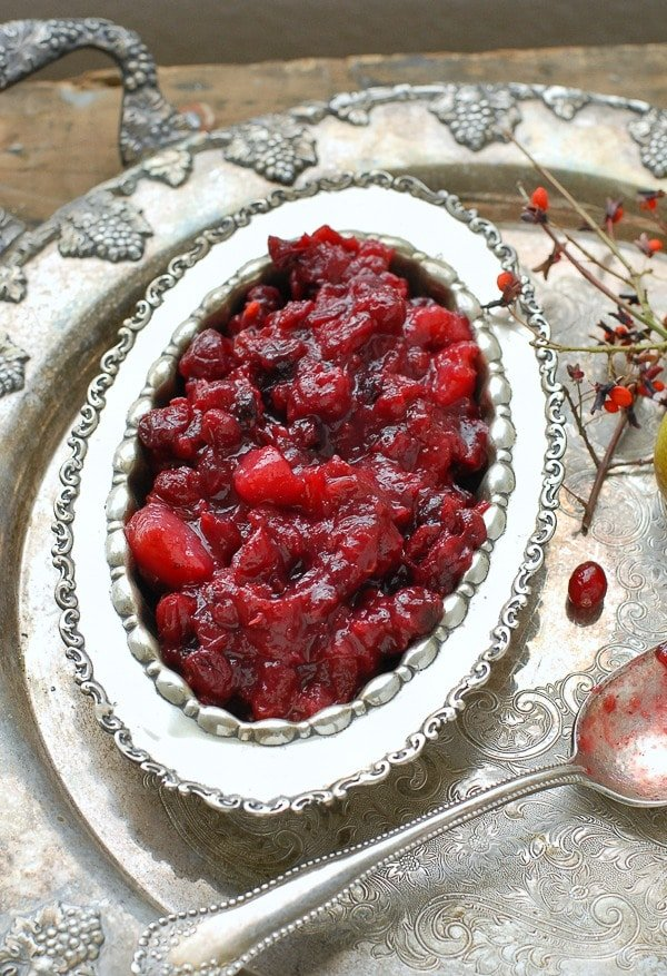 Slow Cooker Cranberry-Pear Sauce with Ginger - gluten-free  - BoulderLocavore.com