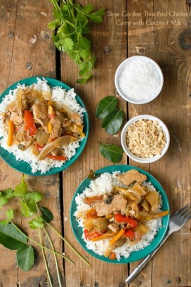 Slow Cooker Thai Red Chicken Curry with Coconut Milk on blue plates