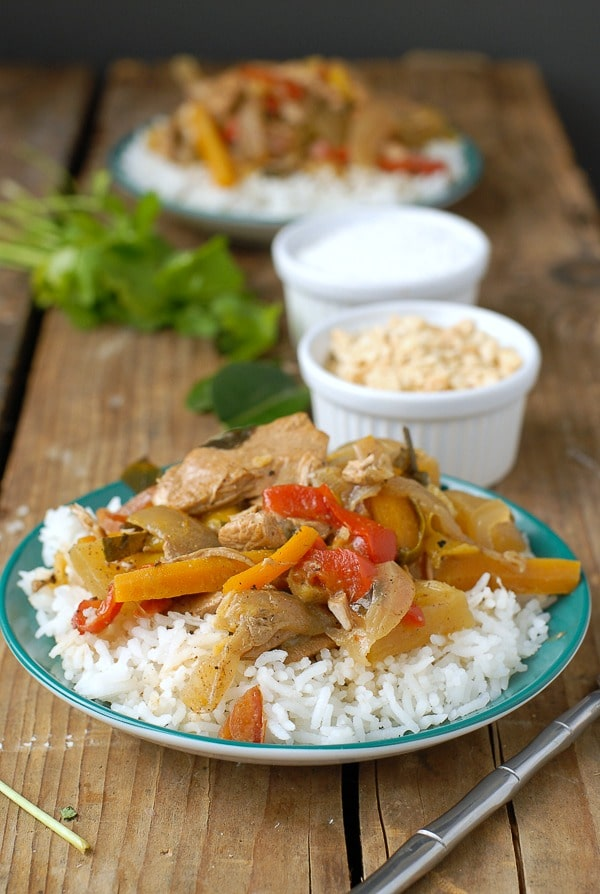 close up of  Slow Cooker Thai Red Chicken Curry with Coconut Milk