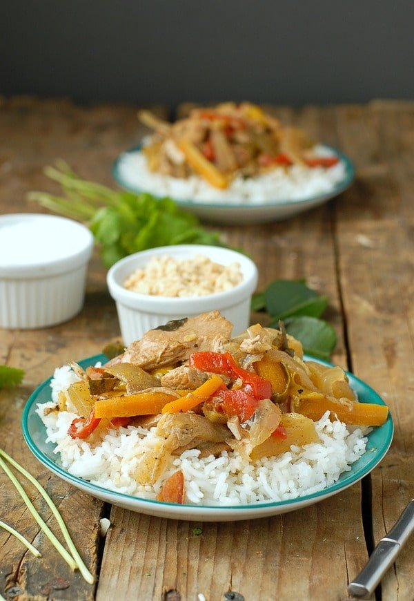 Thai Red Chicken Curry with Coconut Milk on rice