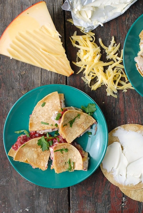 Thanksgiving Leftovers- Turkey, Cranberry-Chipotle Sauce Quesadilla - BoulderLocavore.com