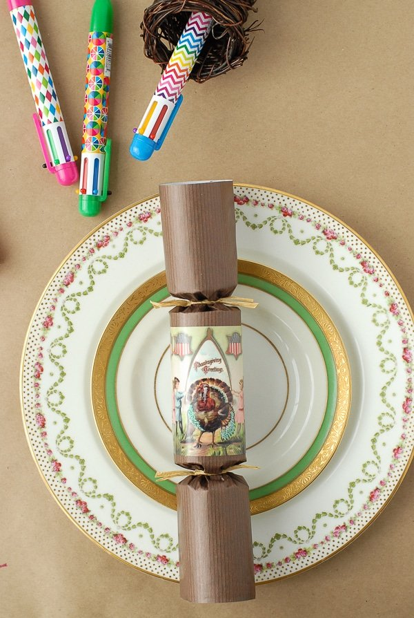 The Holiday Table- Vintage China with holiday cracker and pens - BoulderLocavore.com