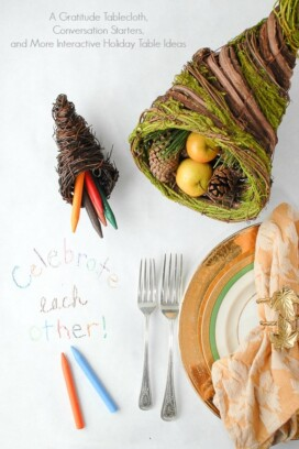 Gratitude Tablecloth, Conversation Starters and More