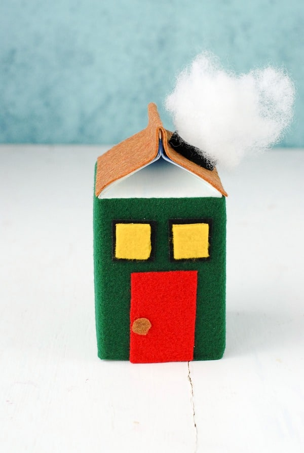 Tutorial (chimney smoke) for DIY Milk Carton Holiday Houses - BoulderLocavore.com
