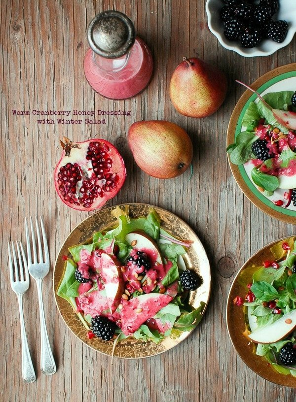 Winter Salad & Warm Cranberry Honey Dressing