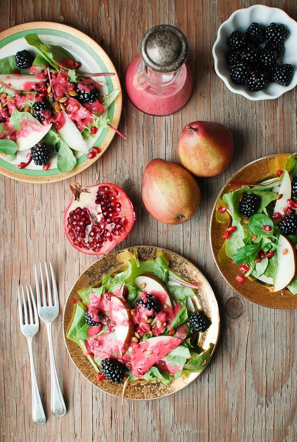Warm Cranberry Honey Dressing with Winter Salad, fresh pears and blackberries