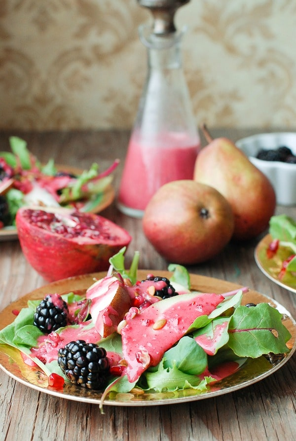 Winter Salad with pear slices, blackberries and Warm Cranberry Honey Dressing