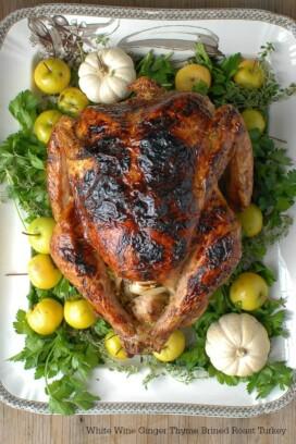 White Wine Ginger Thyme Brined Roast Turkey