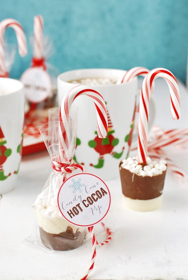 Candy Cane Hot Cocoa Pops wrapped with gift tags