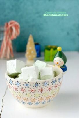 Creme de Menthe Marshmallows in snowman bowl