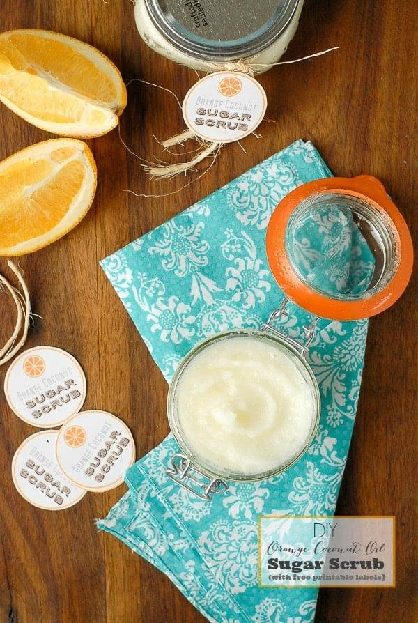 Homemade Orange Coconut Oil Sugar Scrub  with tags