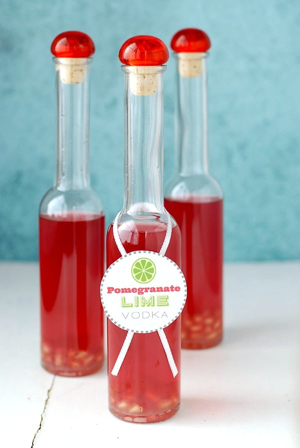 DIY Pomegranate Lime Vodka. Great gift idea! #diy #gift BoulderLocavore.com