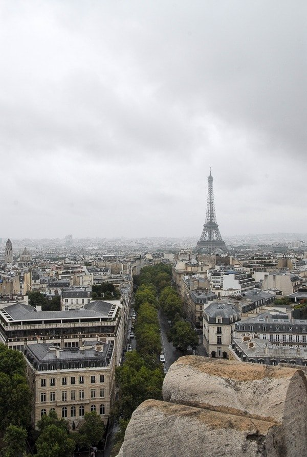 Eiffel Tower on a rainy Paris day from the Arc de Triomphe - BoulderLocavore.com