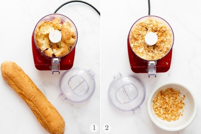 Making soft breadcrumbs with a mini chopper