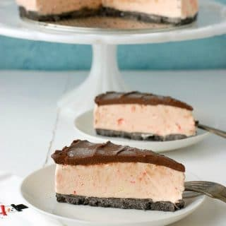 Peppermint Candy Cane Ice Cream Pie with Chocolate Ganache Top - BoulderLocavore.com