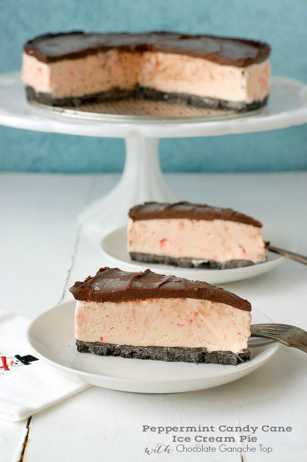 Peppermint Candy Cane Ice Cream Pie with Chocolate Ganache Top