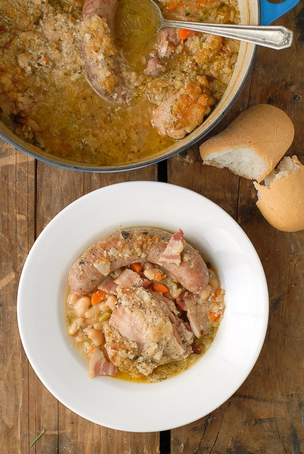 Shortcut French Cassoulet. A classic country-style white bean, chicken, sausage and bacon stew. BoulderLocavore.com