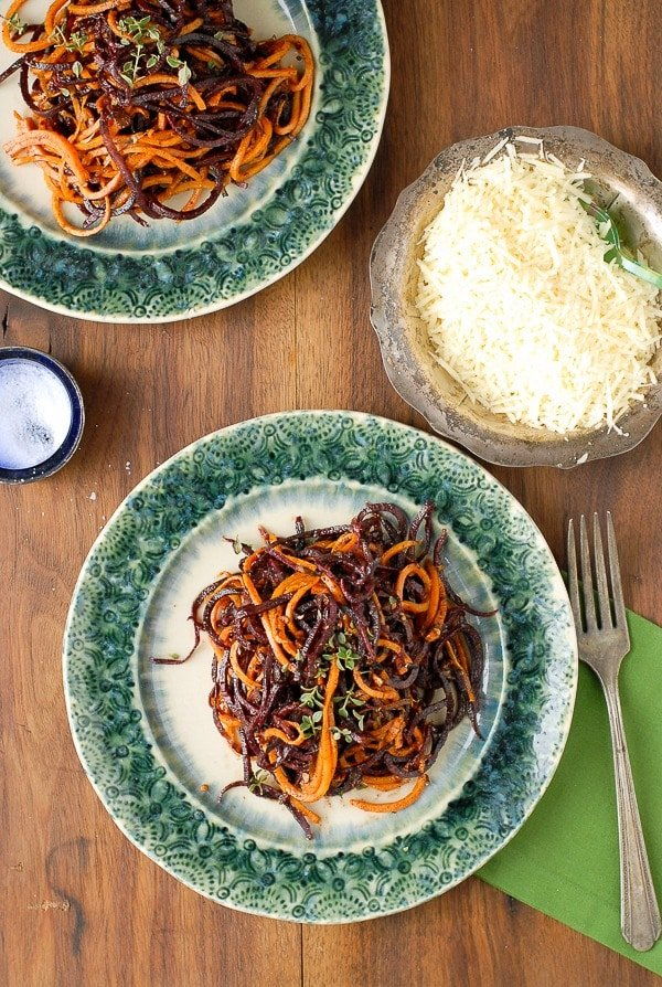 Spiralized Roasted Garlic-Cinnamon Brown Butter Sweet Potato Noodles - BoulderLocavore.com
