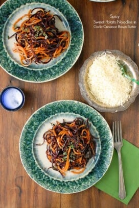 Spiralized Roasted Spicy Sweet Potato Noodles in Garlic Cinnamon Brown Butter
