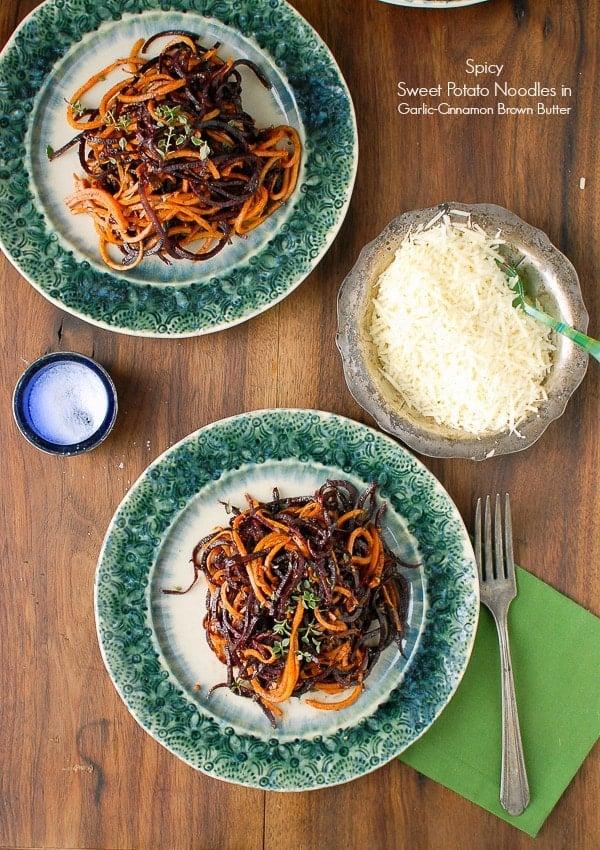 Spiralized Roasted Spicy Sweet Potato Noodles in Garlic Cinnamon Brown Butter - BoulderLocavore.com