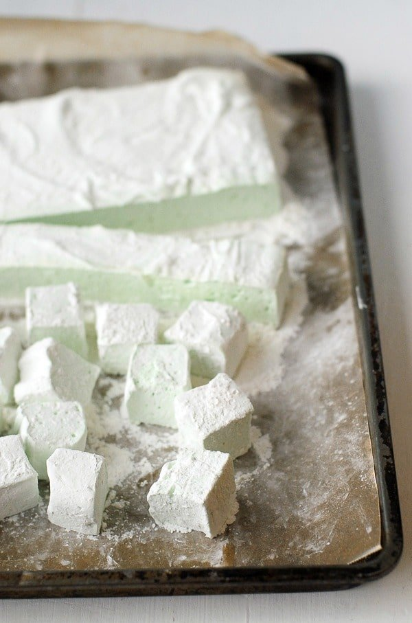 Tray of Creme de Menthe Marshmallows - BoulderLocavore.com