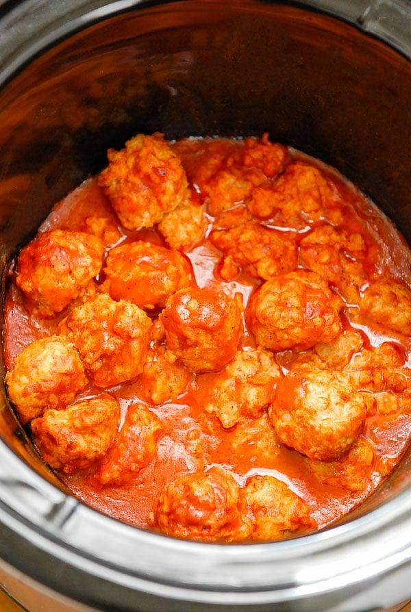 Buffalo Chicken Meatballs in the Crock Pot