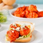 Slow Cooker Buffalo Chicken Meatball + Mini Sandwiches