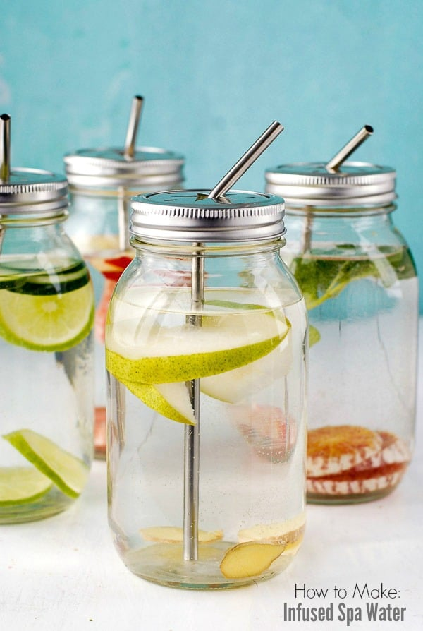Mason jars of homemade Infused Spa Water with fruits, vegetables and herbs BoulderLocavore.com
