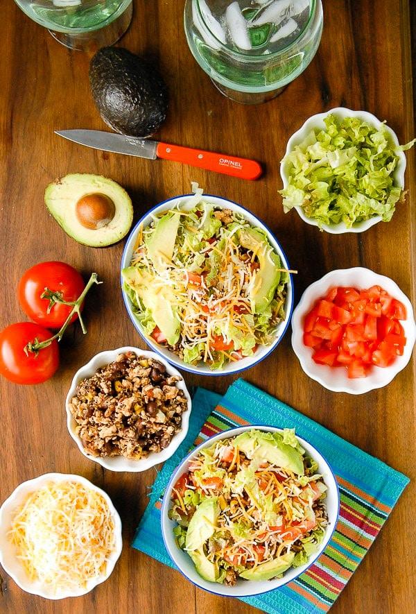 Lean Turkey Black Bean Quinoa Burrito Bowls