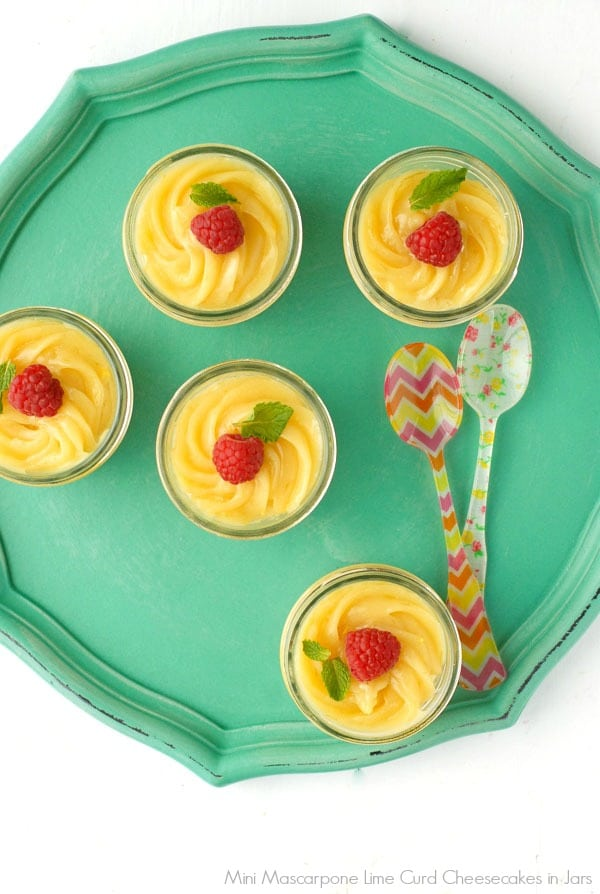 Mini Mascarpone Cheesecakes in Jars with Key Lime Curd - BoulderLocavore.com