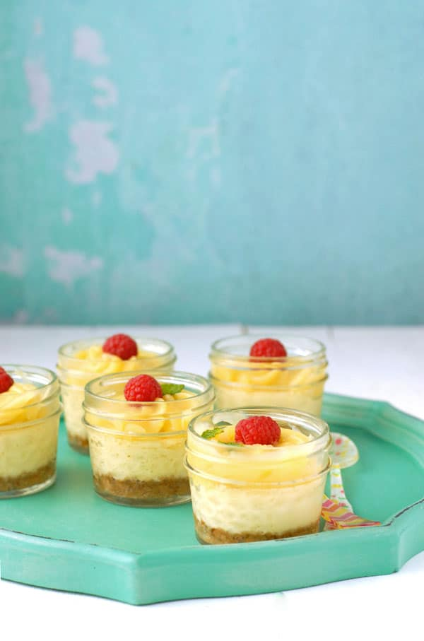 Mini Mascarpone Key Lime Curd Cheesecakes in Jars, side view