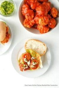 Slow Cooker Buffalo Chicken Meatball Mini Sandwiches - BoulderLocavore.com