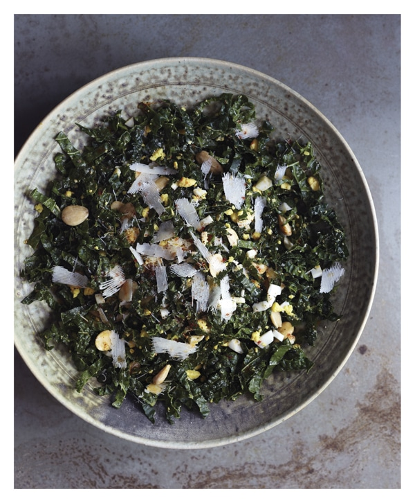 Smoky Kale Salad with Toasted Almonds and Egg {Brassicas | 10 Speed Press} BoulderLocavore.com